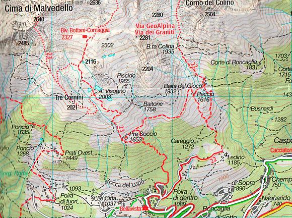 La mappa con l'itinerario di salita al Bivacco Bottani