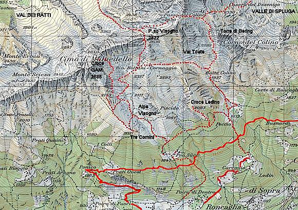Mappa Escursione alla Croce di Ledino